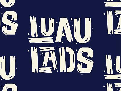 Luau Lads - III tropical tiki drawn type typography type logo vector 2-color