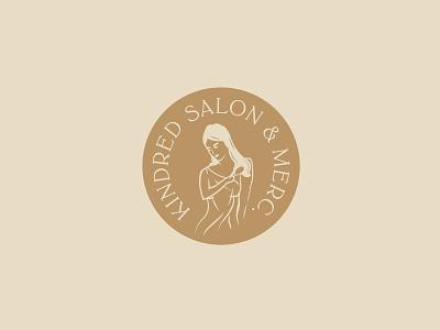 Kindred Salon - II haircut typography type salon branding brand logo badge 1-color illustration