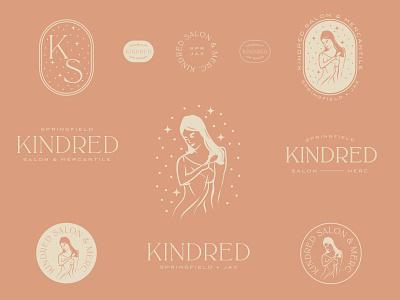 Kindred Salon - III pink typography logo type type haircut salon badge brand system logo vector branding illustration