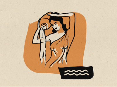 Zodiac - Aquarius 2-color astrology greek water lady illustration midcentury modern midmod aquarius zodiac
