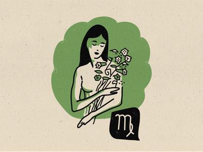 Zodiac - Virgo 2-color astrology greek flowers lady illustration midcentury modern midmod virgo zodiac