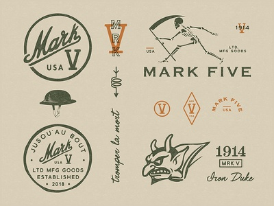 Mark V - Branding logo devil monogram skeleton skulls illustration branding military world war tank insignia ww1