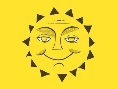Sun hand drawn illustration face texture summer solstice summer sun