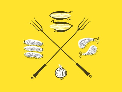 Grillin' & Chillin' fork hand drawn illustration texture sausage cookout corn summer solstice summer grill