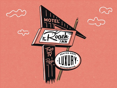 Roach Motel retro holiday inn hotel motel roach illustration texture sign