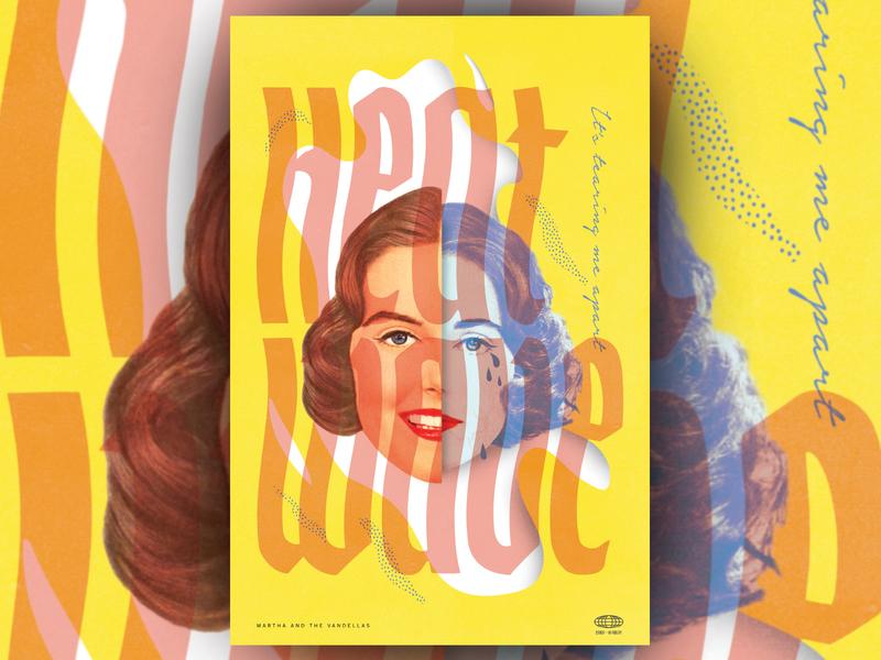 🔥Heatwave🔥 gig poster aiga jacksonville aiga heatwave collage art collage midmod midcentury modern design poster illustration