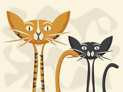 Wally & Opal meow retro supply co texture illustration mid century character cats