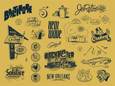 2018 Retrospectivus marks retro brand porfolio lettering handdrawn badge cocktails annual 2018 motel baltimore texture typography logo vector midcentury modern illustration