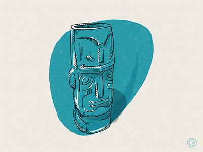 Tiki Mug 🗿 collectors edition vector cocktail drink mid mod tiki mug tiki true grit texture supply true grit 2-color texture midcentury modern illustration