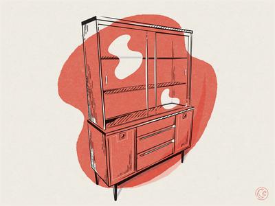 Hutch craigslist find collectors edition display furniture true grit texture supply true grit mid mod vintage antique hutch 2-color texture midcentury modern vector illustration