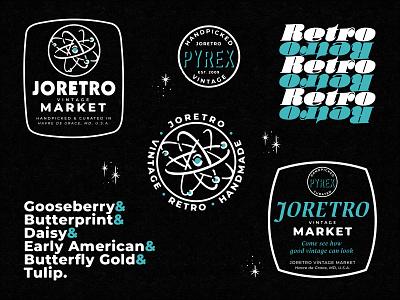 JoRetro store-branded merch maryland marks apparel design apparel type branding retro pyrexfest joretro vintage market antiques pyrex vintage badge