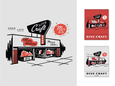 Dive Craft - II typography midcentury modern midmod open late branding hand drawn cocktails true grit texture supply retro supply co merch bar dive bar alcohol matchbook building facade type 2-color illustration