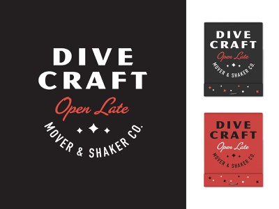 Dive Craft - IV typogaphy type merch matches matchbook open late cocktails dive bar branding bar