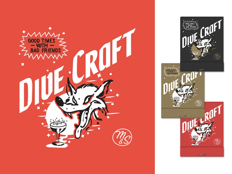Dive Craft - VII branding true grit texture supply retro supply co mid mod midcentury modern good times merch wolf craft cocktails bartender cocktails typography type matchbook matches illustration alcohol bar dive bar