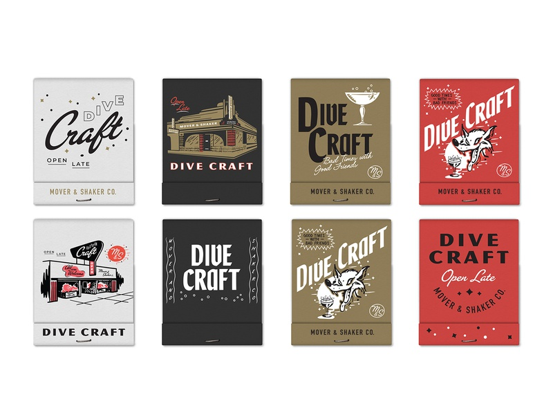 Dive Craft - VIII branding midcentury modern mid mod typography type true grit texture supply retro supply co alcohol bartender cocktail glass wolf facade cocktails merch bar dive bar matches matchbook