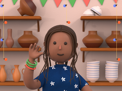 Pottery maker 3D shop ear dark asian bangles braids fresh cute character 3d character lights pottery maker pots clay culture african woman pottery 3d animation 3d graphics 3d art 3d illustration