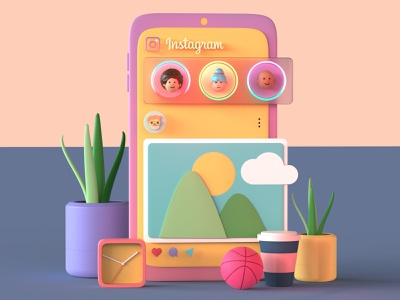 Instagram UI 3D Illustration cinema4d 3d post instagram post 3d minimal instagram template instagram stories 3d avatar avatar design avatar icons instagram 3d character 3d design 3d basketball 3d art 3d app 3d fresh 3d illustration 3d graphics 3d animation