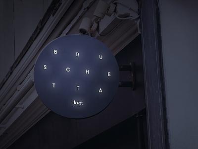 Bruschetta Neon Sign restaurant custom font night bar blade sign exterior sign neon