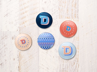 Dalop Buttons colorful initial pattern monogram circular logo collateral swag texture custom font buttons
