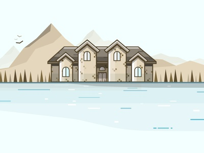 The Mountains mountins woods lake vector illustration