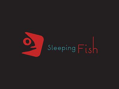 Sleepingfish fish sleeping logo red blue simple clean branding