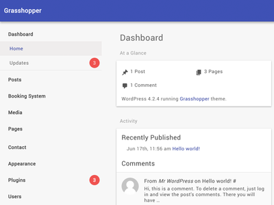 WordPress Dashboard Materialized minimal clean ui material dashboard wordpress