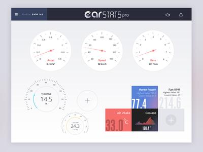 CarStats Pro - Light Theme car stats tablet ux obd2 tool obd2 car car dashboard