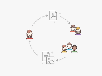 Sharing team documents files ideas ux users vector illustration icons sharing