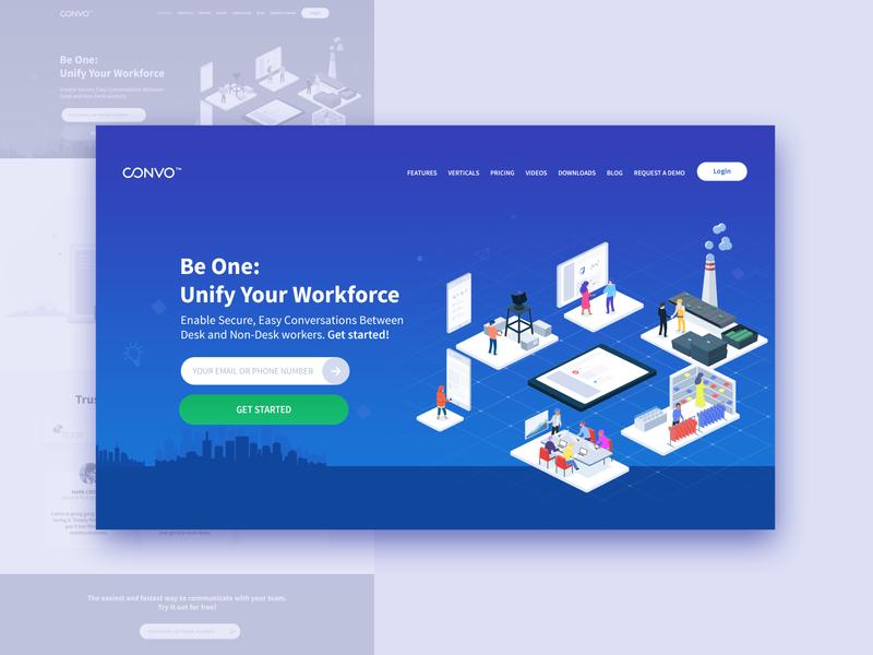 Convo main banner web design getstarted workforce banner ui illustration collaboration website convo