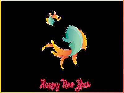 Happy New Year 1399 vector logo design illustraion happy happy new year golden ratio fish logo fish