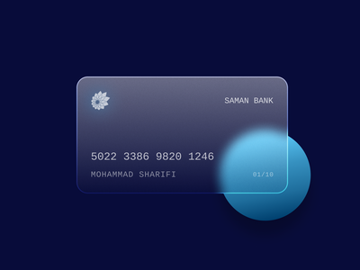 Saman Bank Glass Card saman bank branding concept glass effect glassmorphism glassy finance card design creditcard bank
