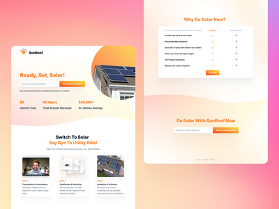 SunRoof.ai Landing Page table green energy sun roof card call to action mesh gradient orange landing ui design branding solar roof roofing roof figma landing page