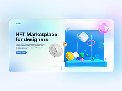 NFT Marketplace for designers landing page nft marketplace bitcoin 3d web design crypto marketplace nft free ui kit ui kit landing page design