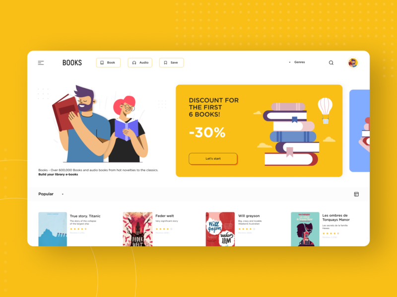 Books uxdesign uidesign website concept webdesign illustration flat ui ux minimal design book bookshop books