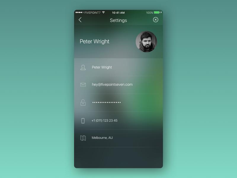 Settings - DailyUI 007 iphone profile user clean minimal blur transparent ios settings dailyui