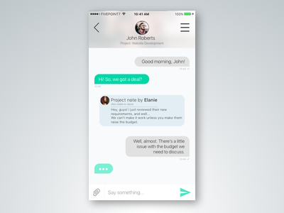 Direct Messaging - Daily UI 013 conversation instant iphone ios app chat messenger messaging direct dailyui
