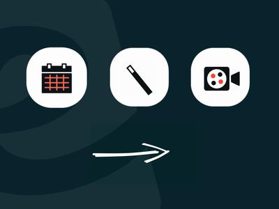 UI Interactive Icons stars calendar magic wand video arrow ui logo interactiondesign interactive video vector illustration webinar vector icon interaction animation interaction interactive