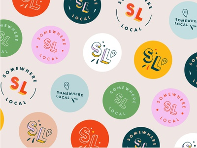 SL Visual Brand Identity illustration type art lettering art lettering 3d fun art brand identity visual art location pin location icon badge logo badge mark submark visual identity branding