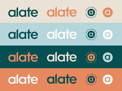 Alate Venture Fund Investment Branding graphic design typography type color palette brand identity wordmark emblem logomark mark banking investment venture blue teal orange logo icon vector branding illustration