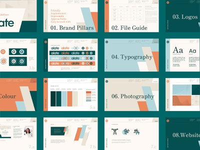 Alate Venture Fund Investment Branding Style Guidelines web design type book logomark color muted blue teal orange real estate venture fund investment brand guidelines style guide minimalist logo icon vector branding