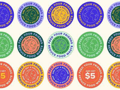 Colourful badge designs minimalist sale graphic design earth web digital advertising environment green pink logo mark yellow purple color marketing submark badge icon branding illustration