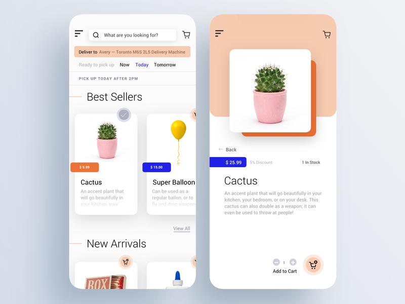 eCommerce Mobile App Design blue orange ux dailyui clean ui mobile ecommerce app ecommerce clean
