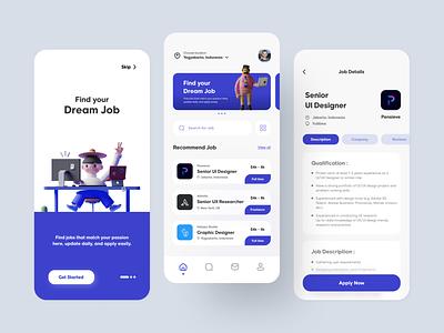 Find Job App website web 3d job seeker job app findjob app uiuxdesign uiux design ui design ux ui