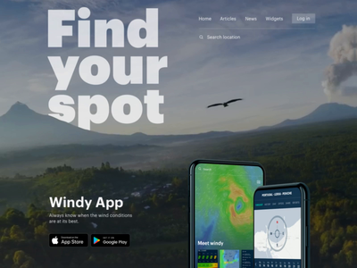 Wind forecast app landing page animation
