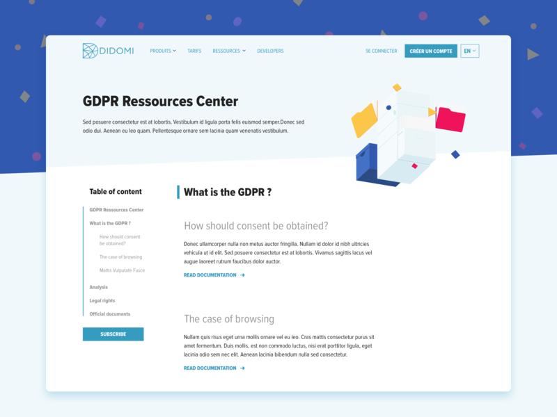 Gdpr Ressources Center tech sketch clean ui ux webdesigner webdesign website landing colors privacy gdpr design
