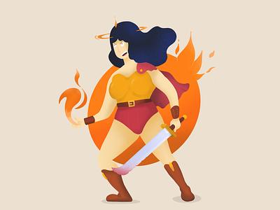 Fire Warrior Illustration digitalart ipad artwork procreate design flat vectoriel vector illustration