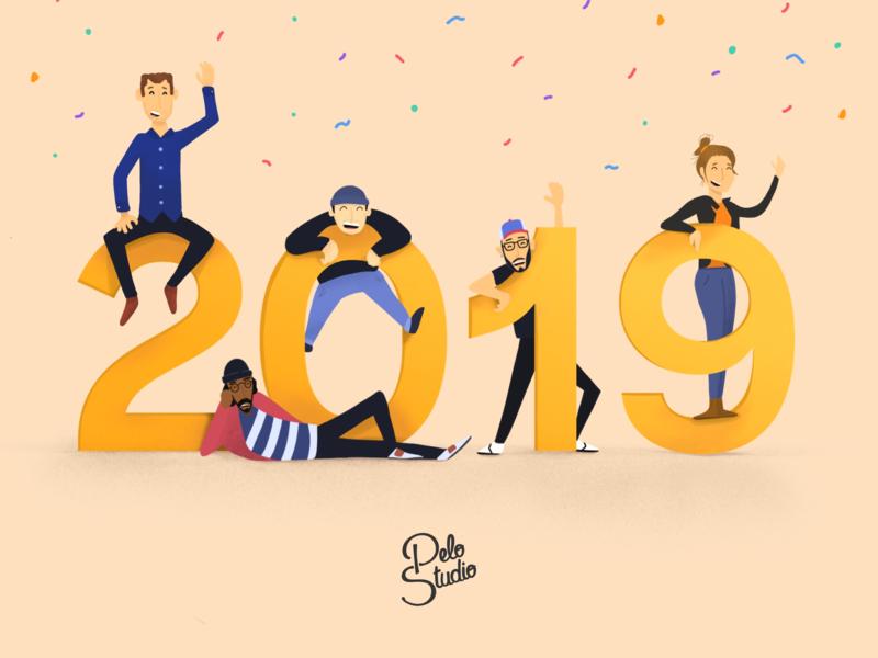Happy New Year from Pelostudio ! dribbble artwork flat ipad procreate vector studio 2019 newyear social illustration design