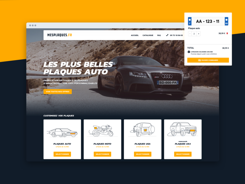 Custom Immatriculation plate tech sketch product popular dribbble screen ecommerce website interface ui uidesign uxdesign ux design