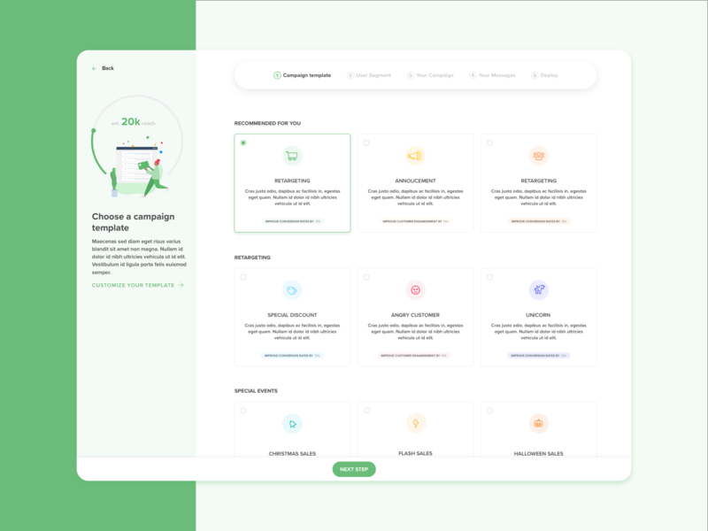 Marketing campaign creation flow rework tech sketch productdesign product popular shot dribbble screen application clean interface uidesign ui uxdesign ux design