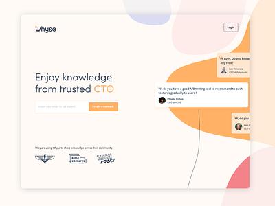 Whyse landing page interface branding clean website screen sketch uidesign uiux product popular tech landing dribbble ui design